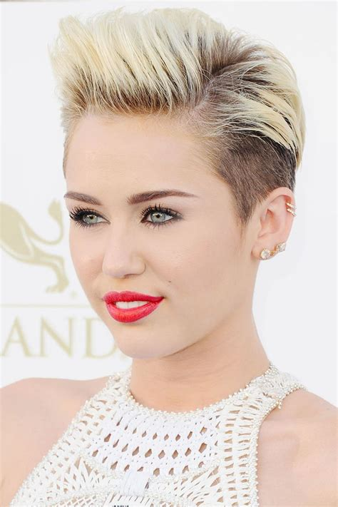 miley cyrus inspired womans disconnected haircut barber 45 of the all time best celebrity pixie cuts hair tips