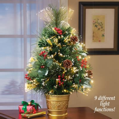 table top fiber optic tree fiber optic pine tabletop tree from collections etc