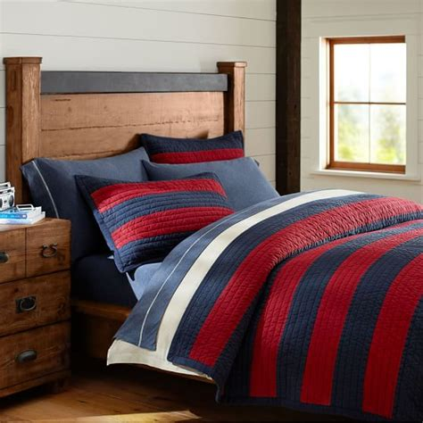 Rugby Comforter by Rugby Stripe Quilt Sham Pbteen