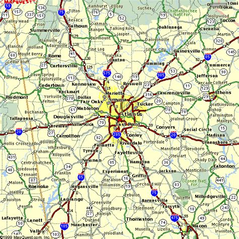 Atlanta Georgia Surrounding Area Map | atlanta area regional map