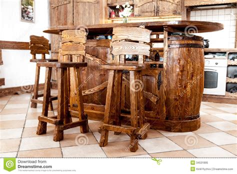 Comfortable Stool High Wooden Bar Chairs Standing Near Bar Desk Royalty Free