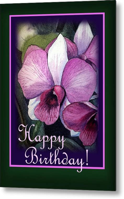 orchids and watercolor 95th birthday happy birthday purple orchid metal print by irina sztukowski