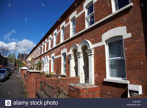 buy a house in belfast row of terraced houses in a student residential area of belfast stock photo royalty