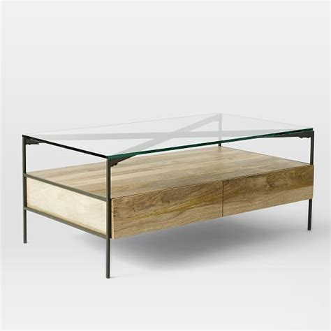 Industrial Glass Coffee Table Glass Topped Industrial Storage Coffee Table West Elm