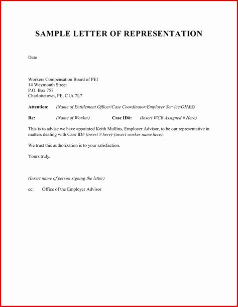 authorization letter for representative template letter of representative authorization letter