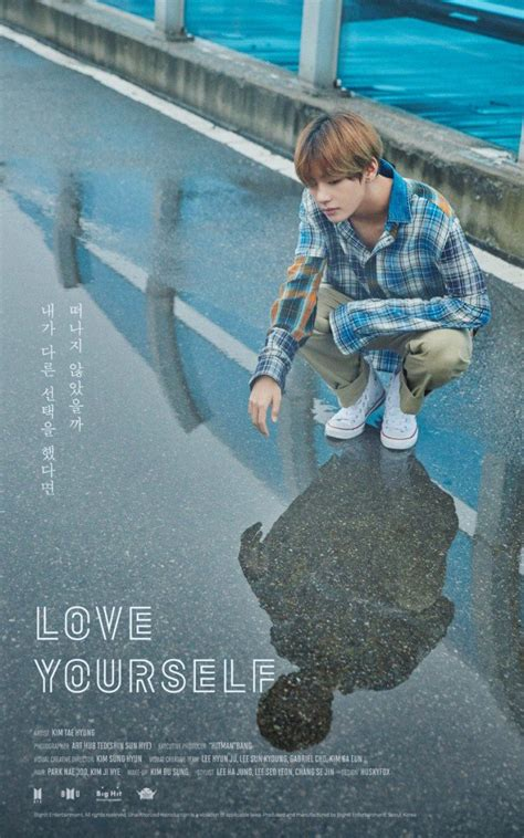 bts love yourself bts v stares at his reflection in love yourself poster