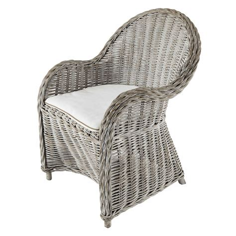 white wicker armchair greyed effect white rattan armchair luna maisons du monde