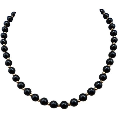 black onyx bead necklace estate black onyx and 14 karat bead necklace from