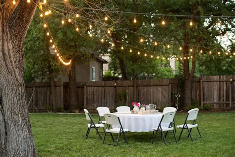 Backyard Lights by Domestic Fashionista Backyard Anniversary Dinner