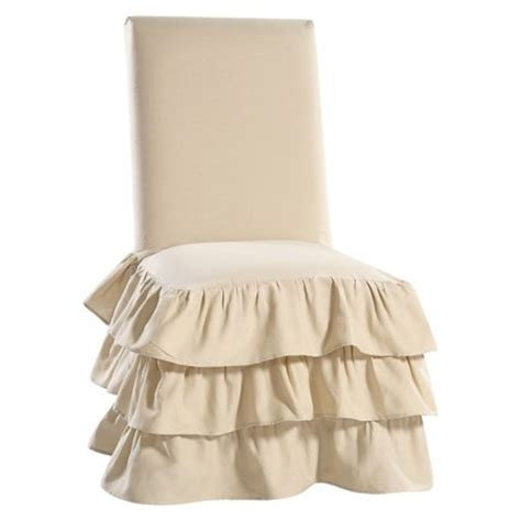 ruffled dining chair slipcovers ruffle 3 tiered dining room chair slipcover target