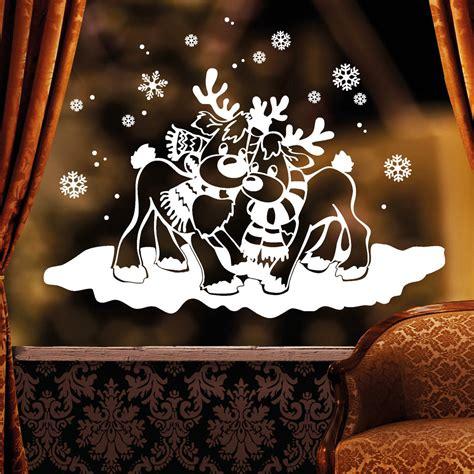 Fensterdeko Weihnachten Schnee by Zwei Verliebte Elche Im Schnee Fensteraufkleber