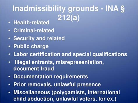 ina section 212 ppt u visas and inadmissibility issues powerpoint