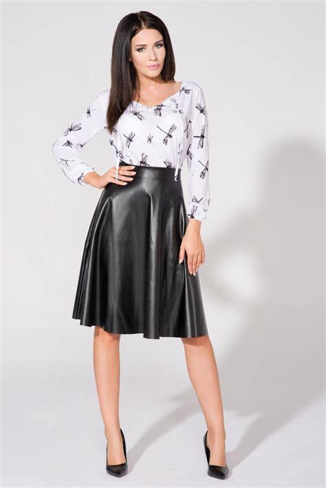 black flared midi eco leather skirt