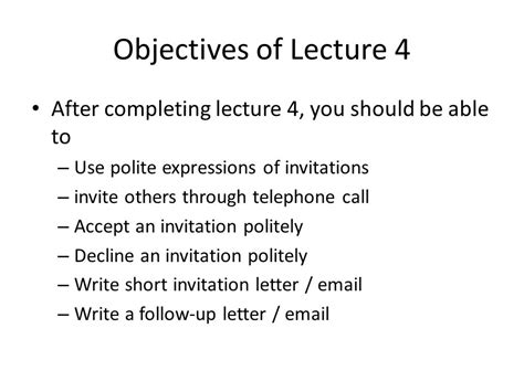 Decline Letter Of Invitation Social Interactions Inviting Responding To Invitations Ppt