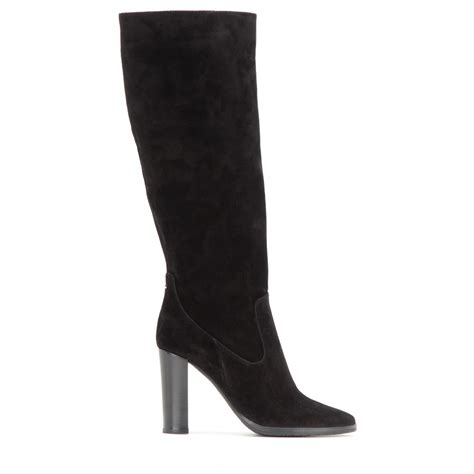 jimmy choo honor 95 suede knee high boots in black lyst