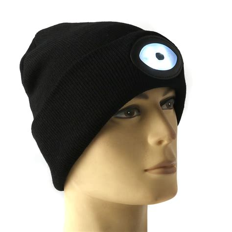 led knit caps sports running 6 led beanie knit hat rechargeable cap
