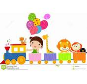 Cute Train And Girl Stock Vector Illustration Of