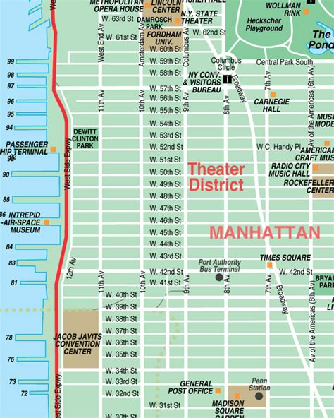 district map of nyc broadway theatre district new york city streets map