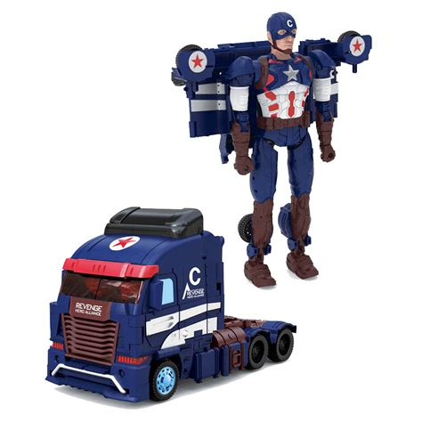 Robot Mobil Captain America deformation transformation robots diy captain america truck model toys for in