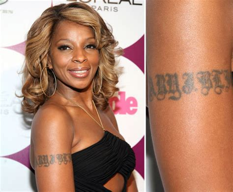 mary j blige tattoo removed j blige has own name inked on right arm