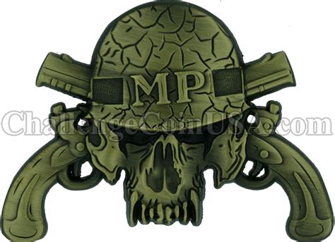 mp scull challengecoinusa military police skull challenge coin