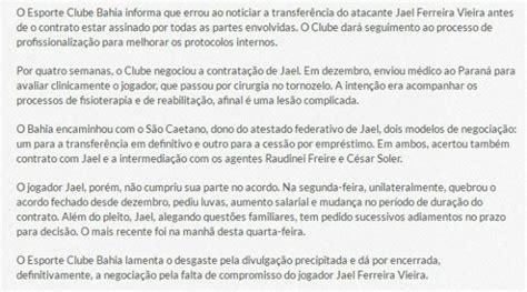 Permission Letter To Join A Company Criticado Pelo Bahia Jael Se Defende E Justifica Perman 234 Ncia No Jec Gazeta Esportiva