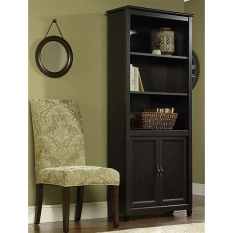 sauder black bookcase sauder edge water estate black storage open bookcase