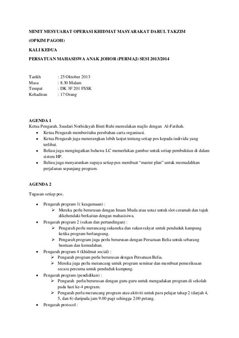 format laporan mesyuarat minit mesyuarat opkim 2