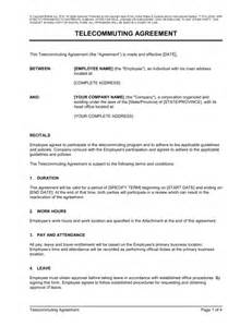 Telework Agreement Template by Telecommuting Agreement Template Sle Form Biztree