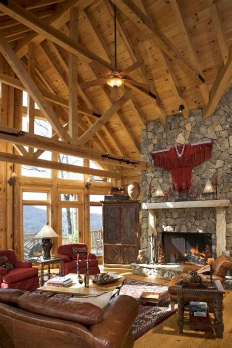 rustic house interior living room high ceiling with exposed wooden beam rustic interior design