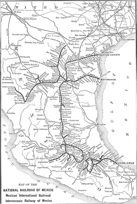 railway system map of mexico map of mexico s railway system 1910 1920