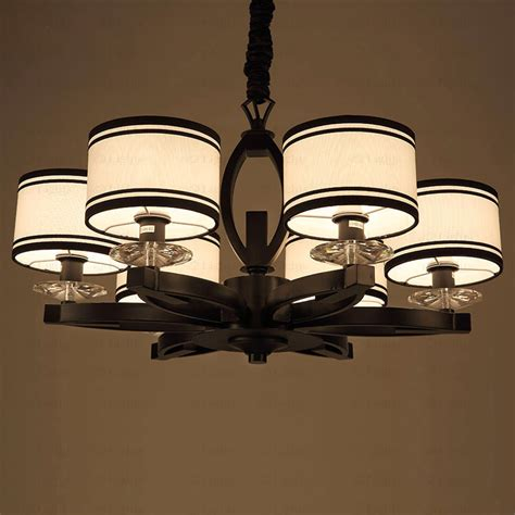 Discount Chandelier Shades Asian 6 Light Drum Shaped Fabric Shade Discount Chandeliers