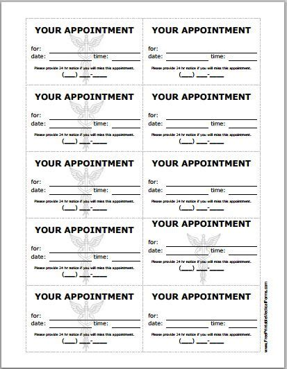 Patient Appointment Cards Template Printable Medical Forms Letters Sheets Appointment Card Template