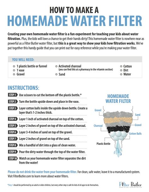water filter experiment printable guide filter