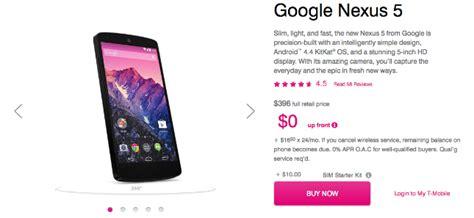 nexus 5 mobile phone deals deal alert 396 t mobile nexus 5 after 0 and 16 50