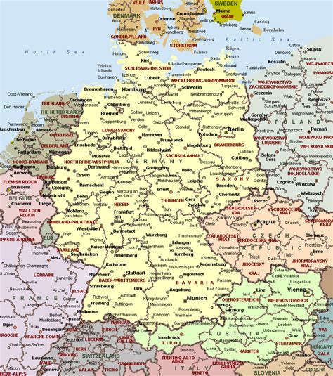 cities in germany political map of germany full size