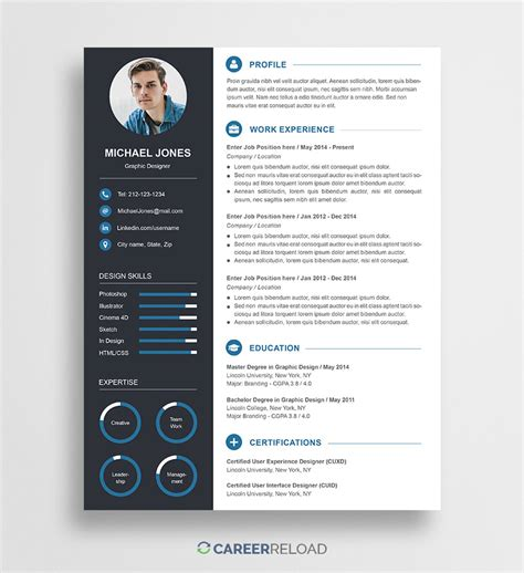 Free Photoshop Resume Templates Free Download Career Reload Resume Psd Template For Photoshop