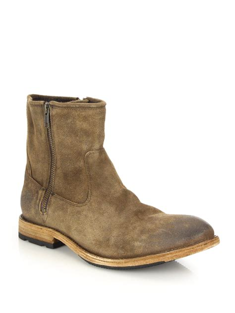 frye ethan zip leather moto boots in brown for