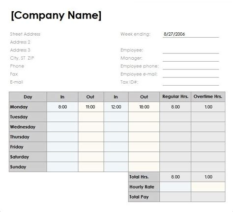 daily timesheet template excel 2010 weekly timesheet template excel free
