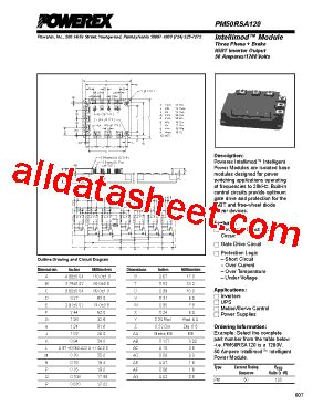 Igbt Pm50rsa120 pm50rsa120 datasheet pdf powerex power semiconductors