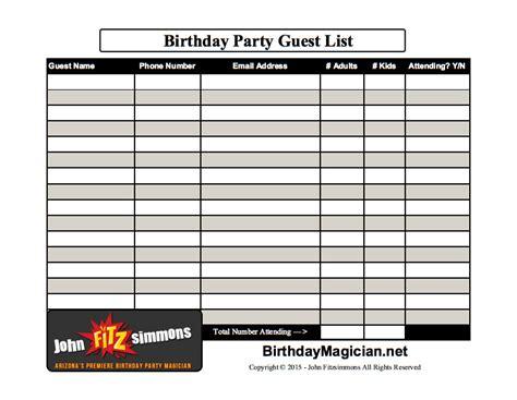 birthday party planning guestlist birthdaymagician net