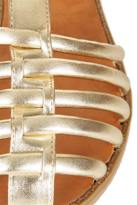 topshop closed toe sandals lyst topshop hi caged closed toe sandals in metallic