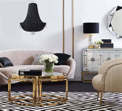 blush pink gold hollywood glamour  interior designer