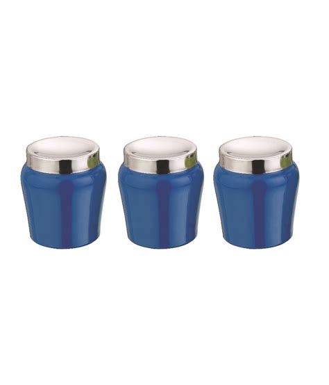 kitchen stainless steel canister set cobalt blue aagam cobalt blue stainless steel canisters 3 pieces