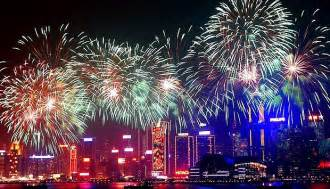 2017 cny fireworks on victoria harbor hong kong