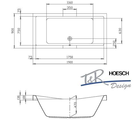 Abmessungen Badewanne by Hoesch Rechteck Badewanne Foster 180 X 80 190 X 90