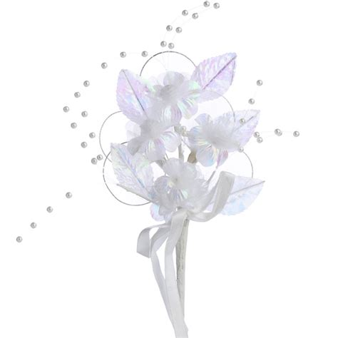 white and iridescent floral sprays picks and stems
