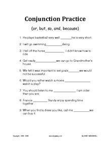 Conjunctions worksheets for ESL