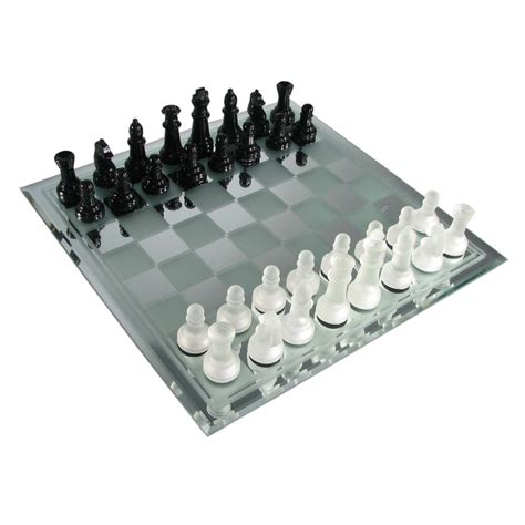 Glass Chess Boards | chess set black and frosted glass chess set from chess usa