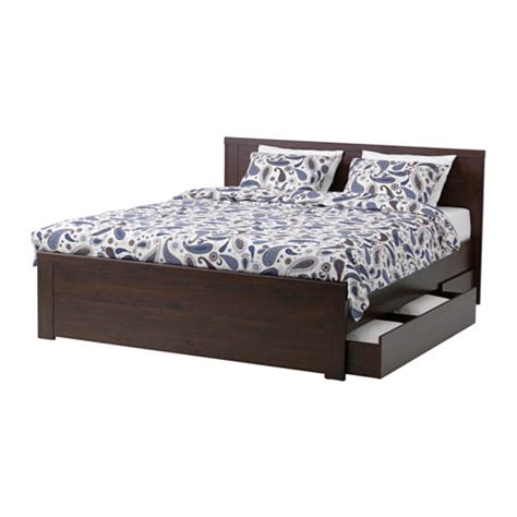 Brusali Bed Frame With 4 Storage Boxes Brusali Bed Frame With 4 Storage Boxes Queen Lur 246 Y Ikea
